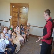 Magician communion entertainment at party